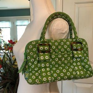 Vera Bradley green satchel handbag